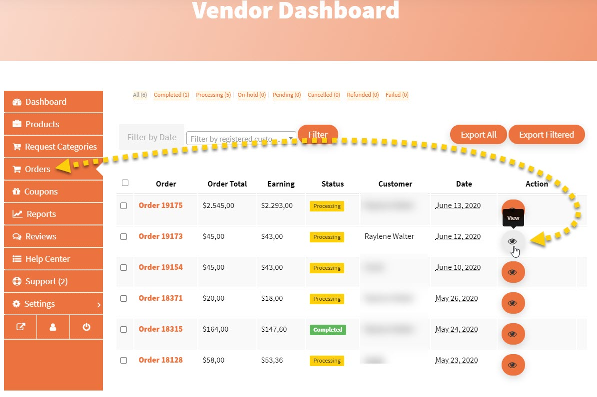 Screenshot of vendor dashboard orders overview page