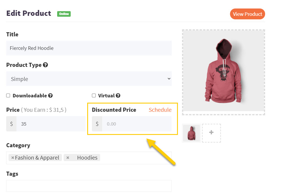 Screenshot of product 'Discounted Price' field