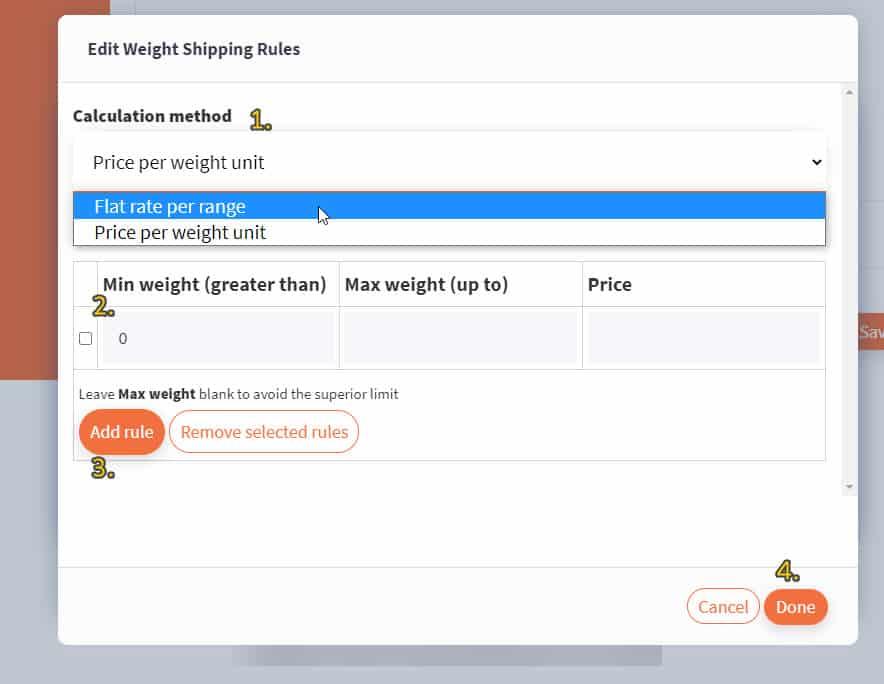 Screenshot of weight-based shipping rule configurator