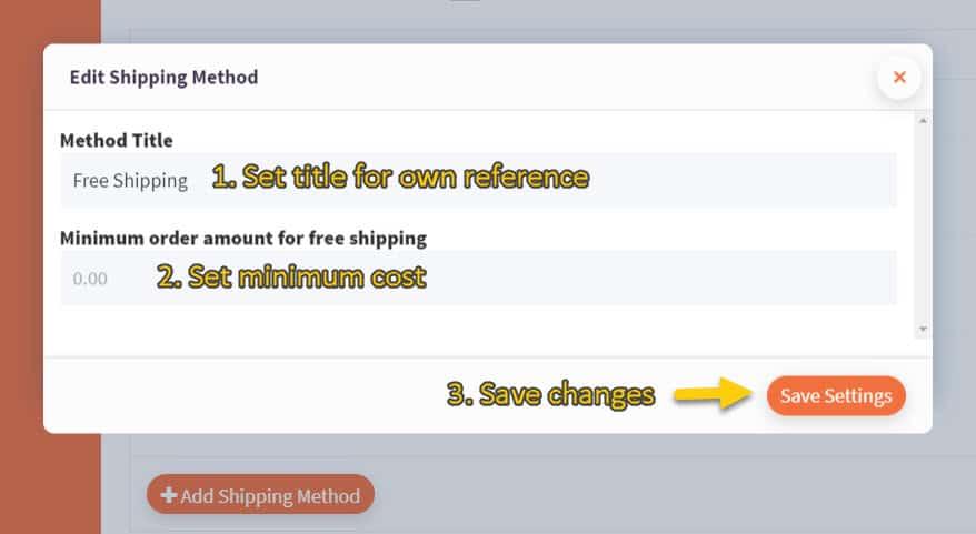 Screenshot of free shipping configuration modal
