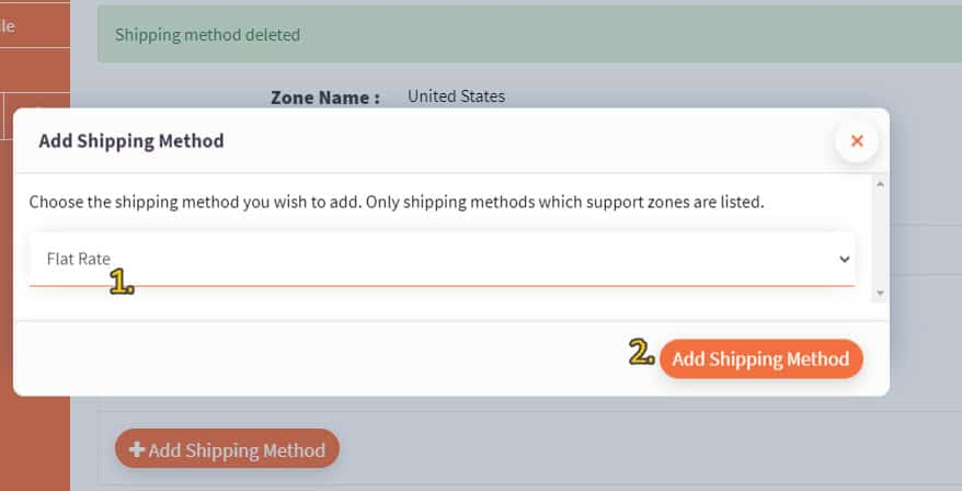 Screenshot of flat rate shipping method selected from dropdown