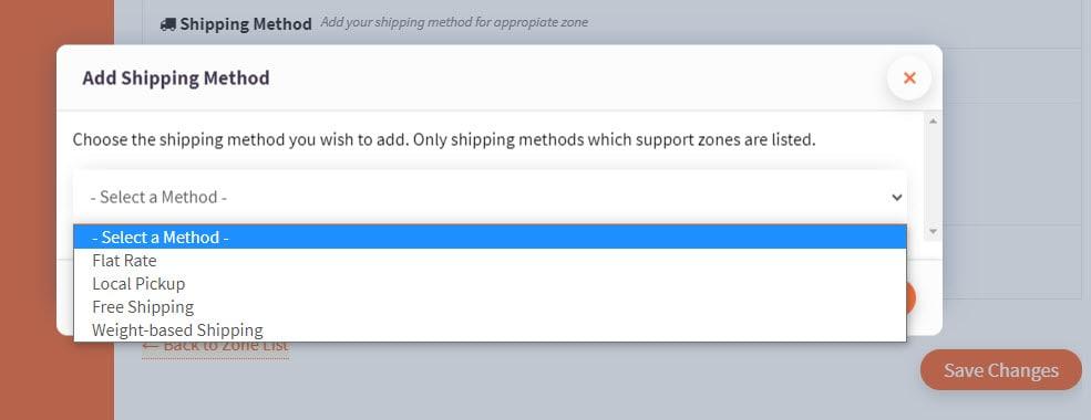 Screenshot of shipping methods dropdown