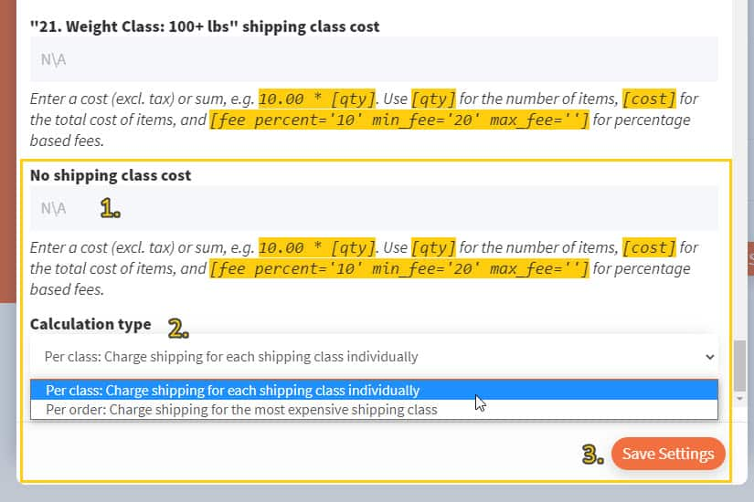 Screenshot of no shipping class cost field and calculation type dropdown toggle