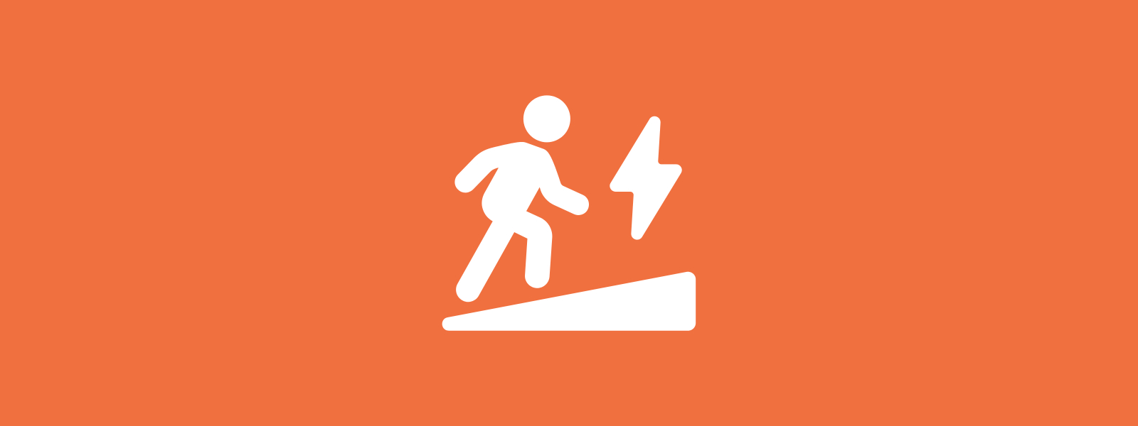 Icon background of person stepping up an incline