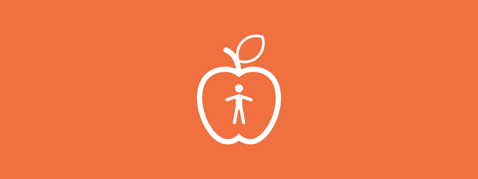 Icon background of apple with person inside