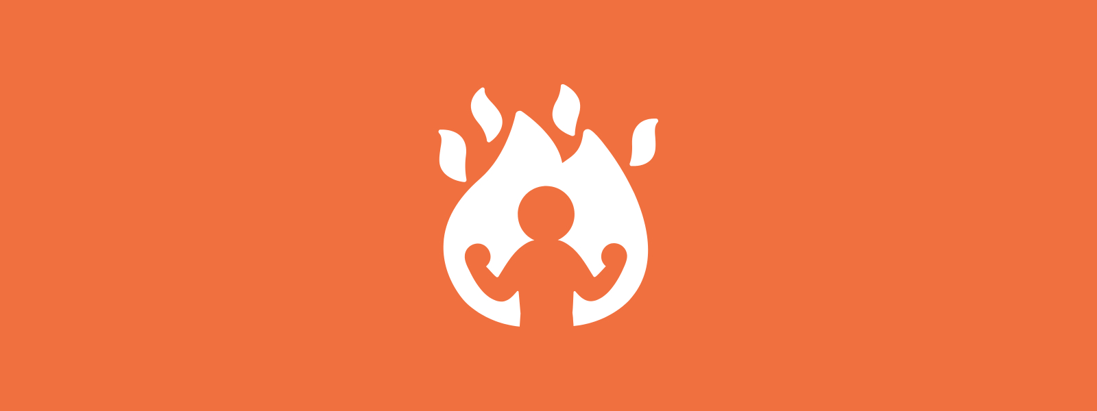 Icon background of person empowered within fire