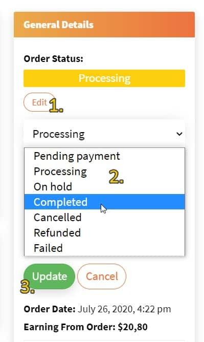 Screenshot showing how to change order status and the various status options