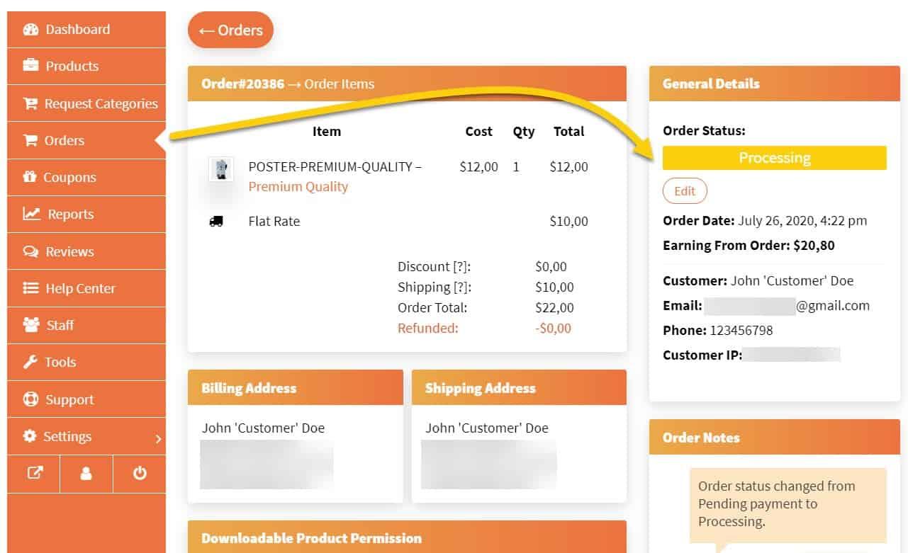 Screenshot of order details and order status