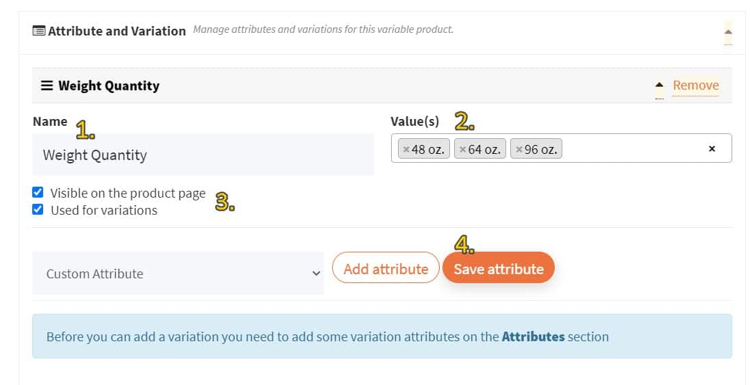 Screenshot of attribute value inputs