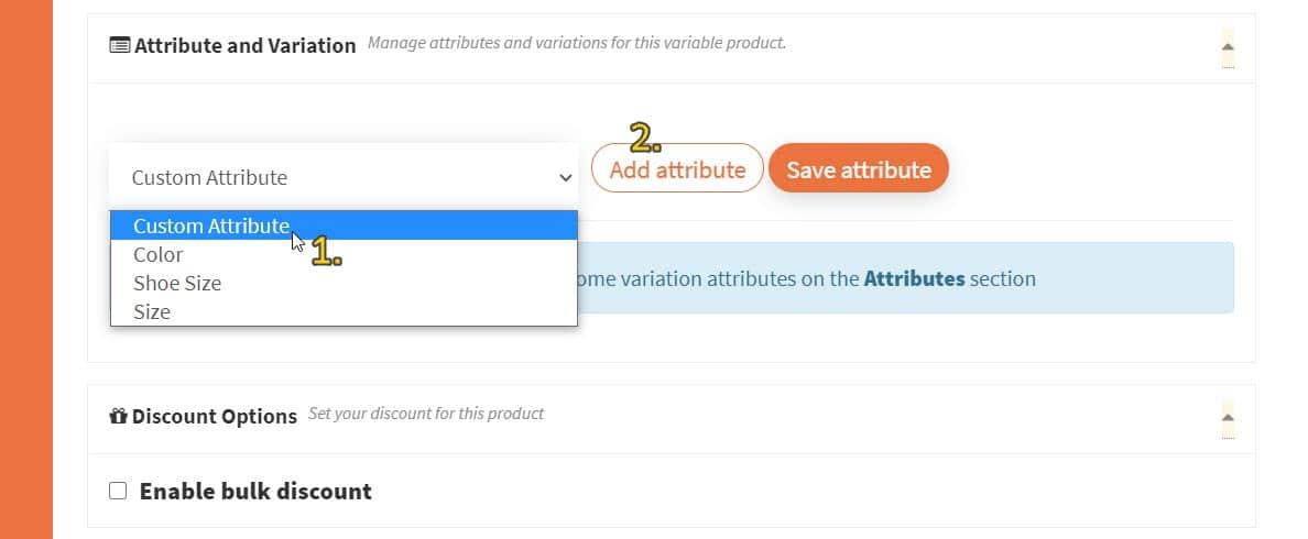 Screenshot of selecting 'Custom Attribute' from dropdown list