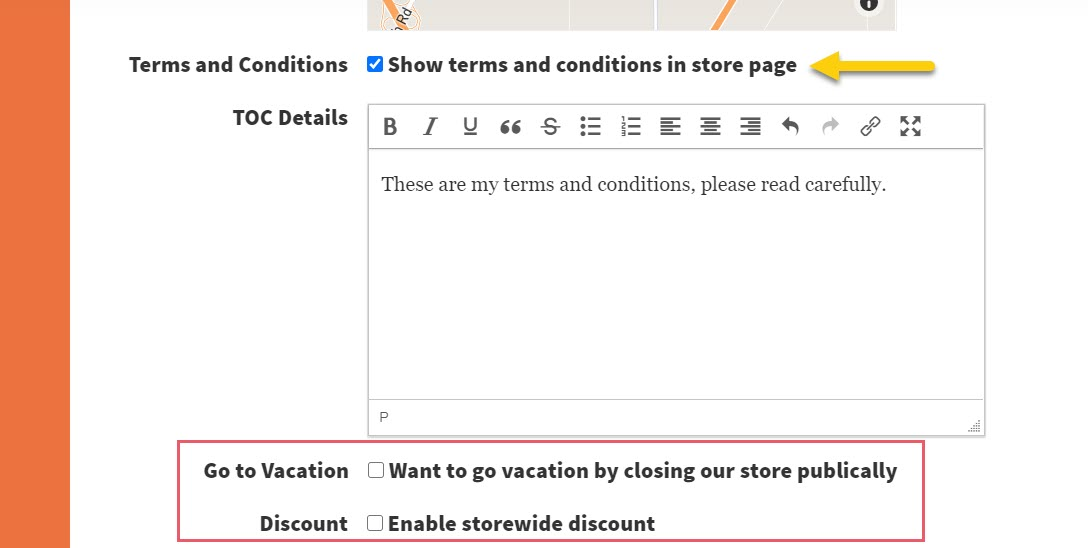 Screenshot of the Terms and Conditions section