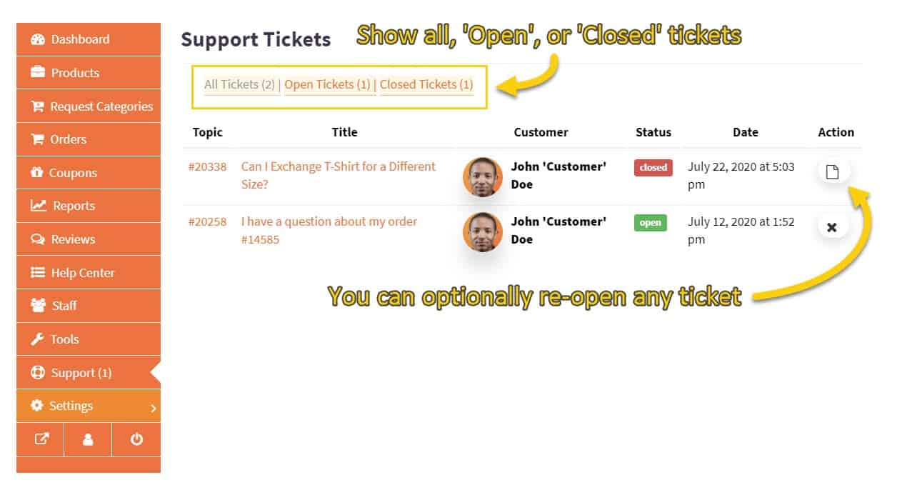 Screenshot of ticket archive and ticket status