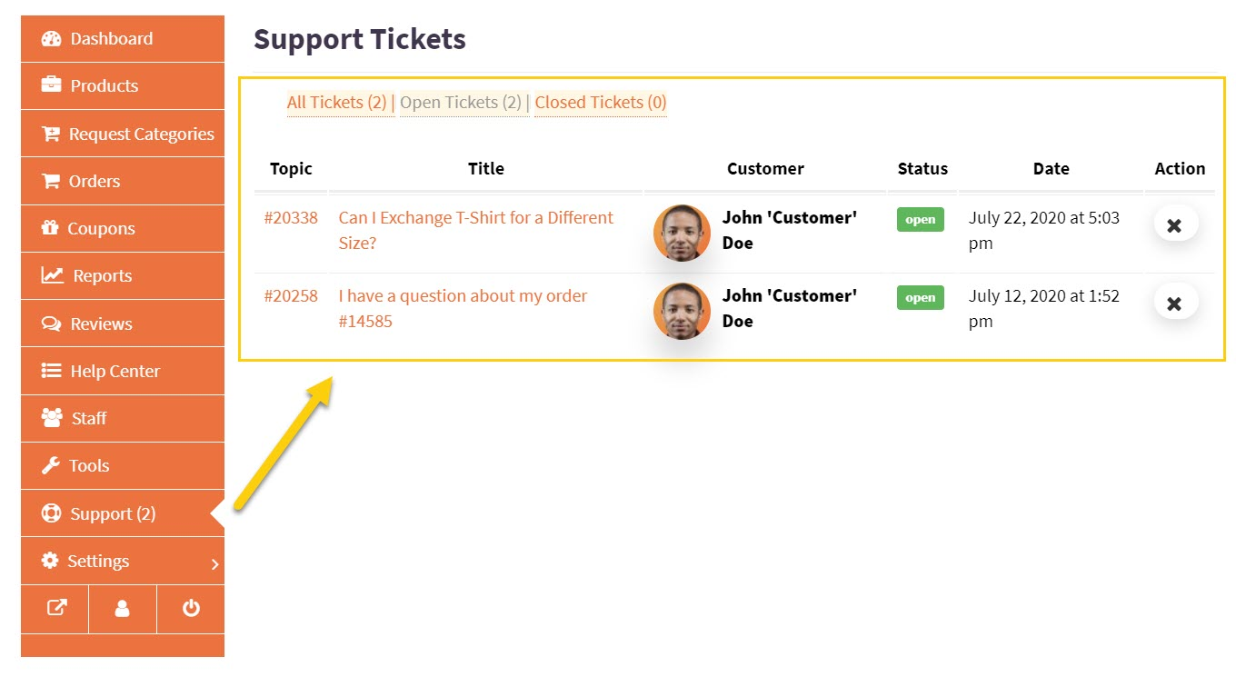 Screenshot of support tickets archive page