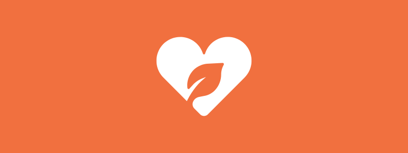Icon background of a heart with leaf inside